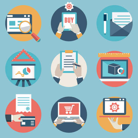transaction: icons and symbols on business management or analytic and e-commerce theme Illustration