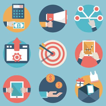 obchod: Byt soubor moderních ikon a symbolů na řízení nebo analytický obchodní a e-commerce téma ikon Ilustrace