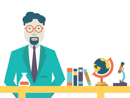 Flat vector teacher and study schools objects for study  Flat design style - vector illustration