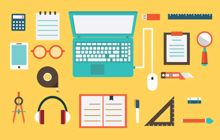 jobsite: Vector flat set of equipment for education  School objects for creativity  Flat style design - vector illustration Illustration