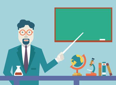 teacher student: Escuelas de maestros vector plana y de estudio de los objetos de estudio de estilo Dise�o plano - ilustraci�n vectorial