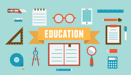 place of research: Vector flat set of equipment for education  School objects for creativity  Flat style design - vector illustration Illustration