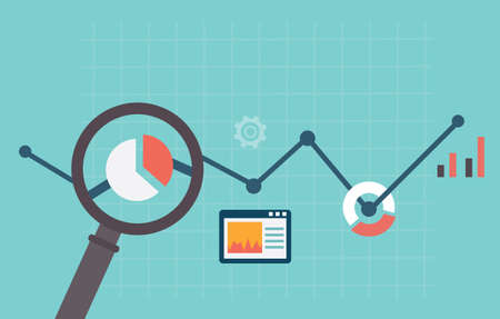 analytics: Flat vector illustration of web analytics information and development website statistic - vector illustration