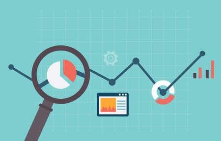 Wektor ilustracja mieszkanie informacji i analiz internetowych Tworzenie stron WWW statystyka - ilustracji wektorowych Ilustracje wektorowe