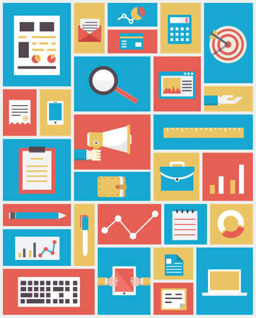 e data: Flat modern technology and equipment in business service  Analytics and statistics - vector illustration
