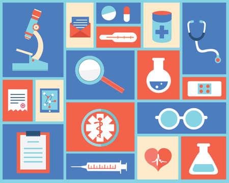 medical instruments: Biểu tượng y tế và dụng cụ y tế bằng phẳng và điều trị -vector minh họa Hình minh hoạ