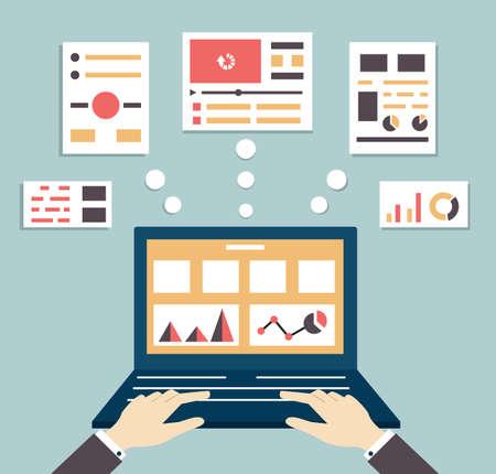 visualize: Illustrazione vettoriale piatto di applicazioni web e ottimizzazione, programmazione, progettazione e analisi - illustrazione vettoriale Vettoriali