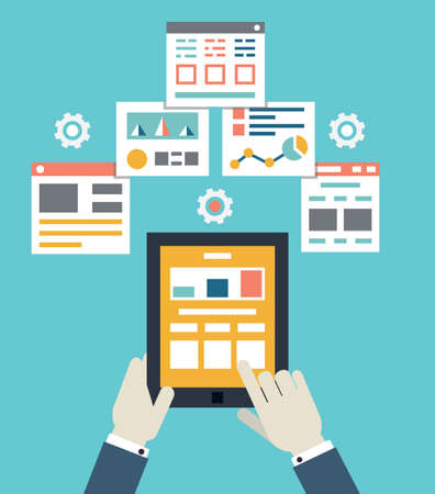 Flat vector illustration of mobile application optimization, programming, design and analytics - vector iilustration Çizim
