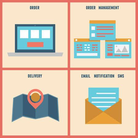 eshop: Vector flat process of e-shop  Order and analytics - vector illustration Illustration