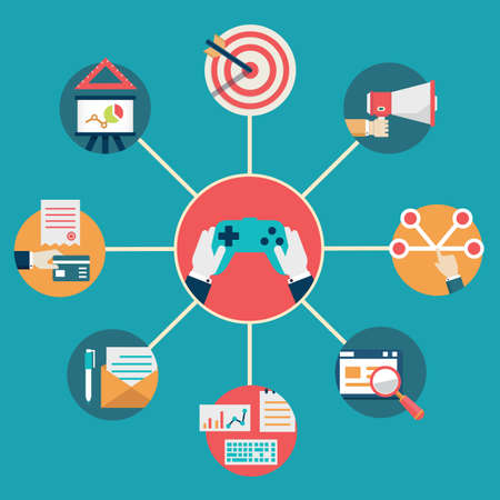 상업: 벡터 일러스트 레이 션 - 사업 관리 및 상거래 gamification의 벡터 평면 개념 일러스트