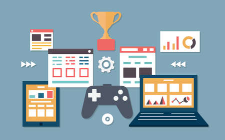 Vector flat illustration of gamification in business  Management and analytics - vector illustration Stock Vector - 24933054