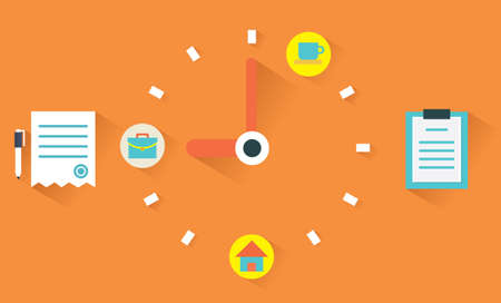 gestion del tiempo: Vector concepto plano de la gestión del tiempo Vectores