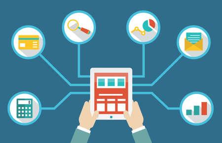 Het beheer van geld door middel van tablet pc Stock Illustratie
