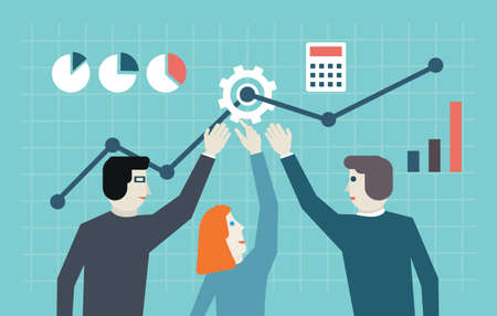 Flat concept of management, human resources and teamwork  Workforce and development