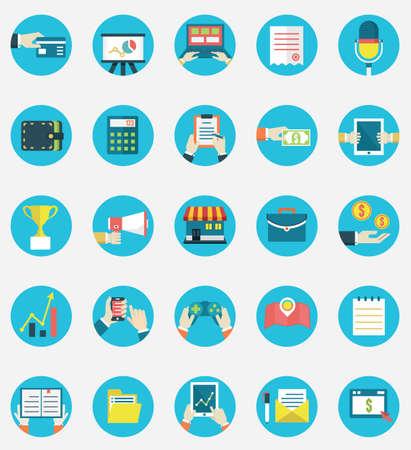 orden de compra: Conjunto de servicios de Internet de negocios y de comercio electrónico iconos Símbolos en la gestión o análisis de estilo Flat