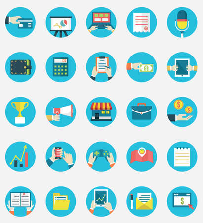 ecommerce icons: Set of business internet service and ecommerce icons  Symbols on management or analytics  Flat style