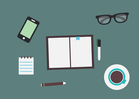 Workplace with mobile device and documents  Flat design style - illustration Illustration
