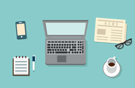 jobsite: Workplace of businessman with mobile devices, laptop, newspaper and documents for work  Flat design style with shadows - illustration Illustration