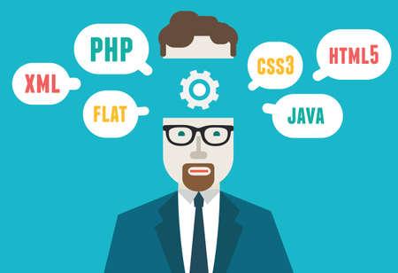 css: Illustrazione piatto di programmatore e la codifica di processo e flusso di lavoro di programmazione e pianificazione - illustrazione Vettoriali