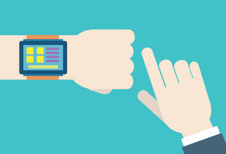 clock hands: flat illustration of hands with intellect watch  Modern technology of management and control Illustration