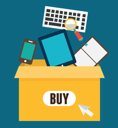 e market: Vector flat illustration of online shopping  Add to box, order and payment - vector illustration