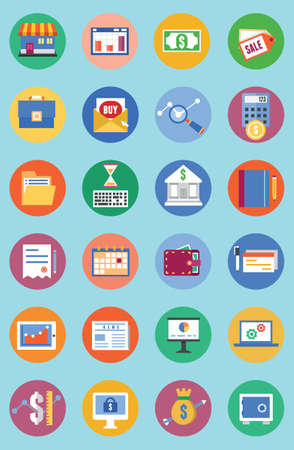 e retailers: Vector flat set of business and analytics icons, commerce and development - vector icons Illustration
