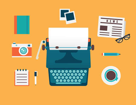 an article: Vector flat illustration of workplace of typewriter with documents and equipment for blog  Old journalism theme - vector illustration