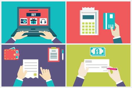 Vecteur plat notion d'ordre de processus et la livraison Infographie du marketing internet et e-commerce - illustrations