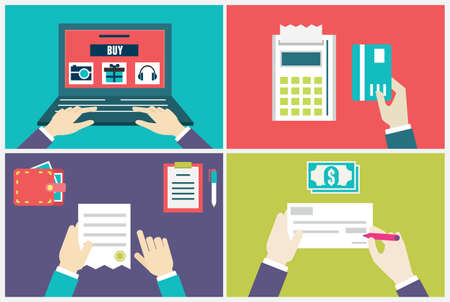 Vector Flach Konzept der Bestell-und Lieferprozess Infografik der Internet-Marketing und E-Commerce - Vektor-Illustration