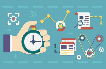 productividad: Vector concepto plano del proceso de negocio de los medios sociales y marketing de inicio, planificaci�n de negocios y resultados - ilustraci�n vectorial