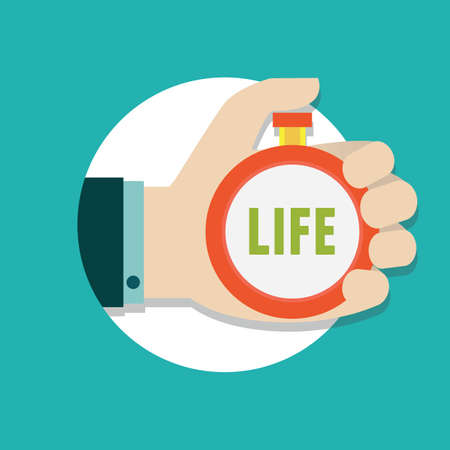existence: Vector flat concept of time management  Manage life - vector illustration