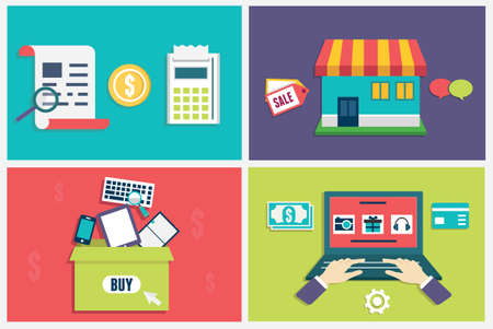 manage: Vector flat concept of process online shopping  Infographic symbols for e-commerce  Flat style design - vector illustration