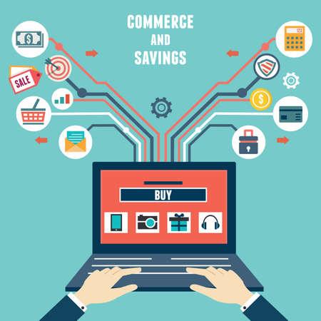 Compras de vector concepto plana del comercio y el ahorro de internet - ilustración vectorial Ilustración de vector