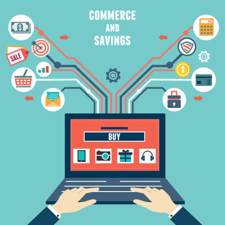 Vector Flach Konzept des Handels-und Spar Internet-Shopping - Vektor-Illustration