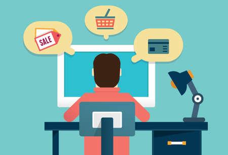 orden de compra: Concepto de Piso de proceso de e-marketing y comercio electrónico las órdenes de los clientes de productos - ilustración vectorial - ilustración vectorial Vectores
