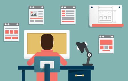 벡터 일러스트 레이 션 - 응용 프로그램 또는 웹 사이트 개발 디자인 및 프로그래밍의 벡터 평면 그림