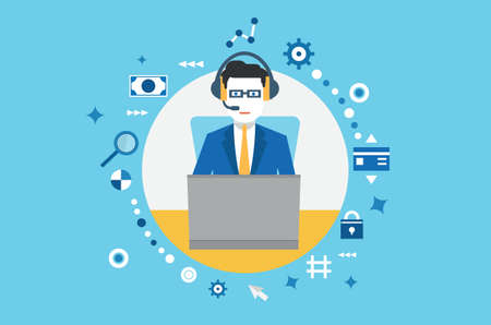 collaborating: Vector concept of management and business  Flat style design - vecetor illustration