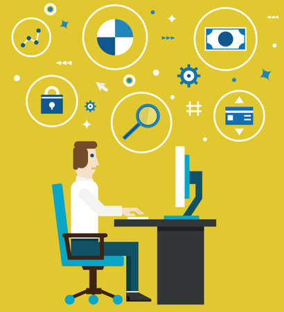 executing: Vector illustration of e-marketing and e-commerce process  Businessman works in the office  Flat style design - vector illustration