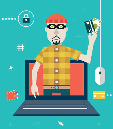 Vector concept of online fraud  Hacking private account  Flat style design - vector illustration