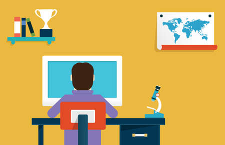 place to learn: Vector flat concept of online learning  Education and science - vector illustration