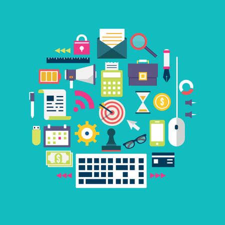 Flat concept documenten voor bedrijfsvoering en ontwikkeling - vector illustratie