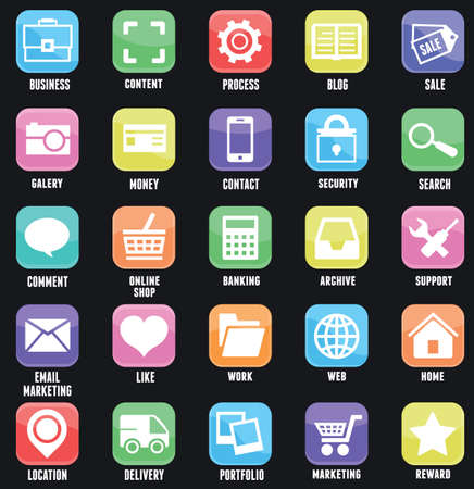 ios: Set of social media buttons for design  Flat outline style design - part 1 - vector icons