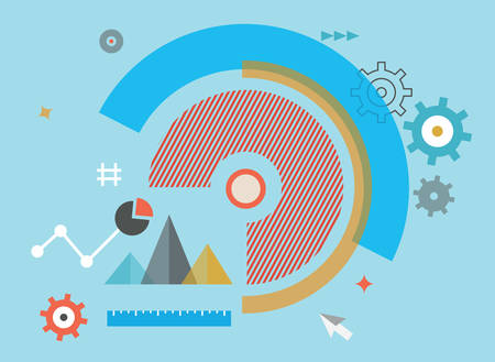 Flat vector illustration of analytics information and process of development - vector illustration