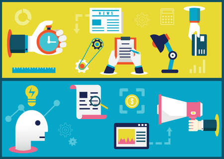 planning process: Vector Flat illustration concepts of business process and  planning  Startup and results - vector illustration
