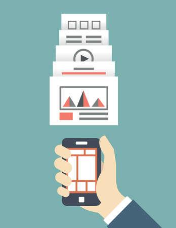 usability: Responsive web design of mobile application for device - vector illustration   Illustration
