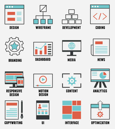 managment: Set of e-commerce and internet service icons  Outline design style - vector icons Illustration