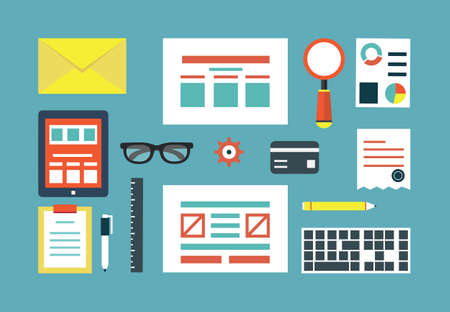 programing: Vector set of equipment for programing and design  Gadgets for creating applications  Flat style design - vector illustration Illustration