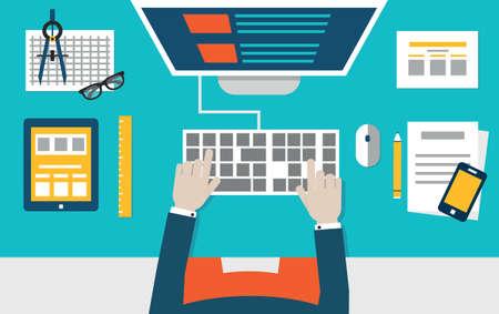 css: Illustrazione vettoriale piatto della codifica di processo e la programmazione di applicazioni mobili per dispositivi Progettazione e programmazione - illustrazione vettoriale Vettoriali