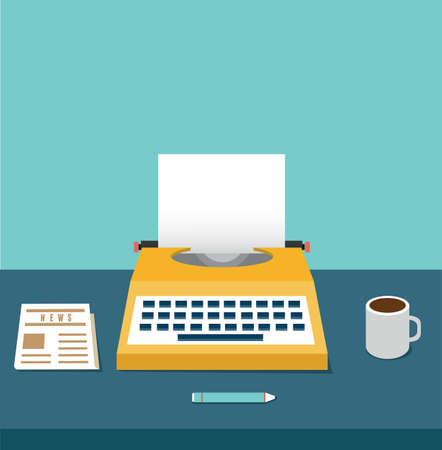 nite: Vintage typewriter on the table with copyspace for text  Equipment for blog - vector illustration Illustration