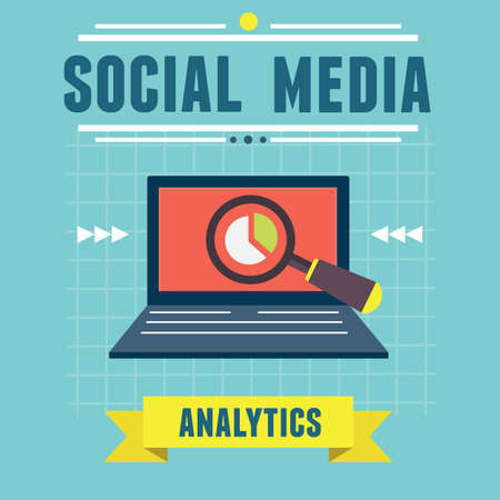 Vector illustration of analytics social media information and development website statistic - vector illustration Vector